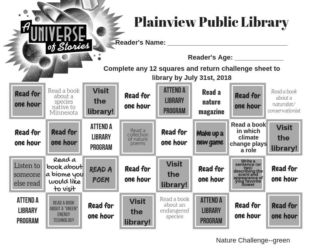 b4c2a7fa55ca2 2019 Reading Challenge Sheets – Plainview Public Library
